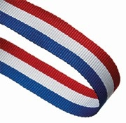 RED WHITE AND BLUE 22MM RIBBON