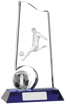 8inch CLEAR AND BLUE FOOTBALL GLASS AWARD