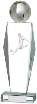 10.5inch BALL AND PLAYER FOOTBALL GLASS AWARD