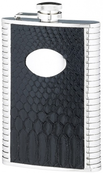 8 OUNCE BLACK STAINLES STEEL FLASK