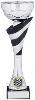8.75inch BLACK & SILVER CUP TROPHY