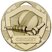 50mm MINI SHIELD MEDAL CRICKET GOLD