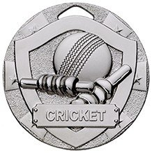 50mm MINI SHIELD MEDAL CRICKET SILVER