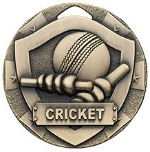 50mm MINI SHIELD MEDAL CRICKET BRONZE