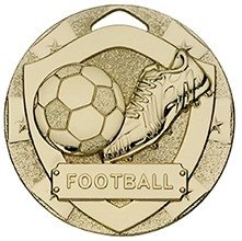 50mm MINI SHIELD MEDAL FOOTBALL GOLD