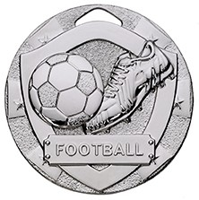 50mm MINI SHIELD MEDAL FOOTBALL SILVER
