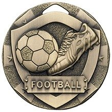50mm MINI SHIELD MEDAL FOOTBALL BRONZE