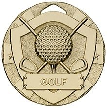50mm MINI SHIELD MEDAL GOLF GOLD