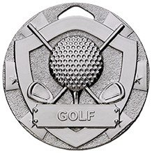 50mm MINI SHIELD MEDAL GOLF SILVER