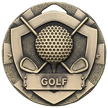 50mm MINI SHIELD MEDAL GOLF BRONZE