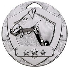2inchMINI SHIELD MEDAL HORSE SILVER