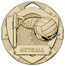 2inchMINI SHIELD MEDAL NETBALL GOLD