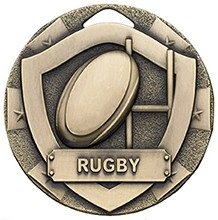 50mm MINI SHIELD MEDAL RUGBY BRONZE