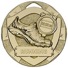 2inchMINI SHIELD MEDAL RUNNING GOLD