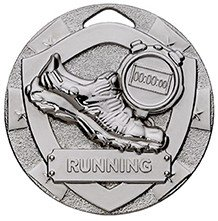 2inchMINI SHIELD MEDAL RUNNING SILVER