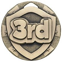 2inchMINI SHIELD MEDAL 3RD BRONZE