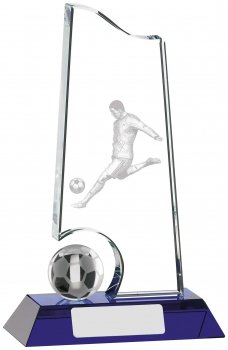 7inch CLEAR AND BLUE FOOTBALL GLASS AWARD