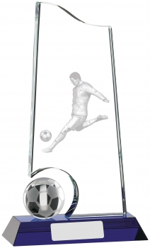 9inch CLEAR AND BLUE FOOTBALL GLASS AWARD