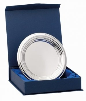 6.25inchNICKEL PLATED RIDGED TRAY WITH BOX