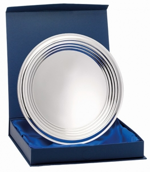 8inchNICKEL PLATED RIDGED TRAY WITH BOX