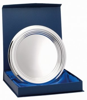 9.5inchNICKEL PLATED RIDGED TRAY WITH BOX
