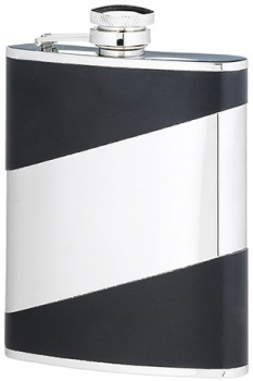 6 OUNCE BLACK STAINLESS STEEL FLASK