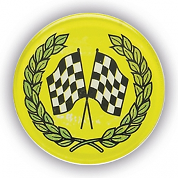 CHEQUERED FLAGS 1inchDOMED CENTRE