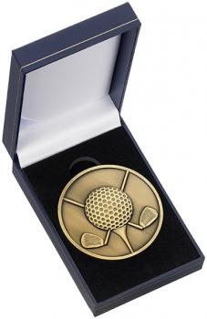 60mm GOLF BALL AND CLUBS MEDAL