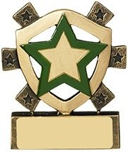 3 1/8inchGREEN STAR MINI SHIELD