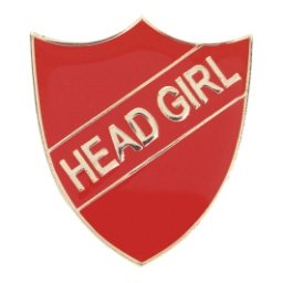 RED HEAD GIRL SHIELD BADGE