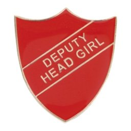 RED DEPUTY HEAD GIRL SHIELD BADGE